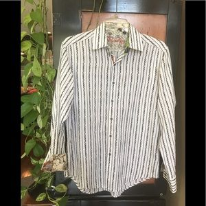 Robert Graham sz M White striped longsleeve shirt